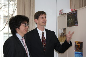 Jack Wang (L) and Carson Tavenner (R) visit the American Center  for Cultural Exchange at Sichuan University, Chengdu, in March 2012.